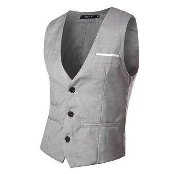 CStore Man Gilet British Style Vest Waistcoats Grey - intl