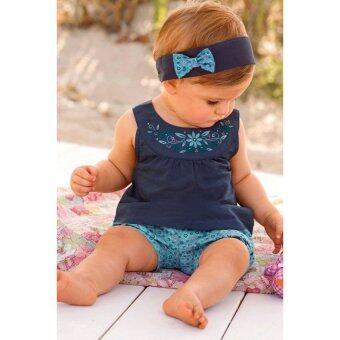 Cyber Fashion Summer Girls O-Neck Embroidery Back Button Tank Tops Elastic Waist Print Pocket Shorts 3pcs Set(OVERSEAS) - intl