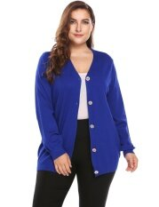Cyber Low Profit Women Casual Long Sleeve Button V-Neck Solid Basic Soft Cardigan( Blue ) - Intl ราคา 556 บาท(-61%)