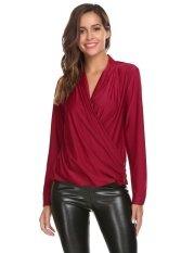 Cyber Promotion Women Casual Deep Crossing V-Neck Long Sleeve Zipper Decor Sexy Blouse T-Shirt Tops( Chili Red ) - Intl ราคา 548 บาท(-42%)