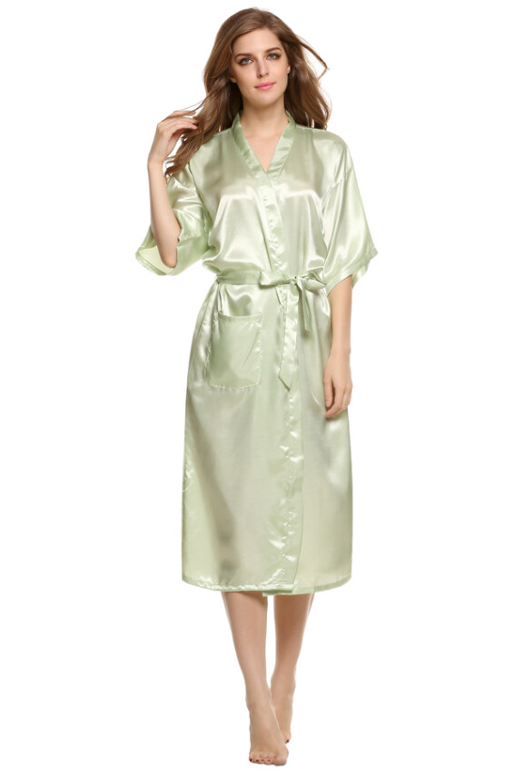 Cyber Sexy Woman Silk Strappy Sleepwear Long Bath Robes Night Gown Pajamas ( Green ) ...