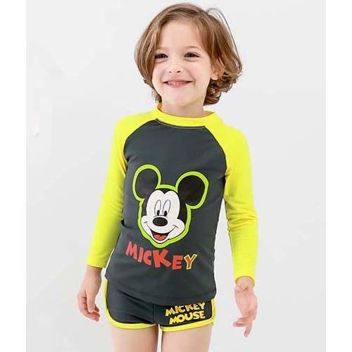 Disney Swim Wear Two-Piece Mickey Mouse Kids Rash Guard (Yellow Grey Color) - intl