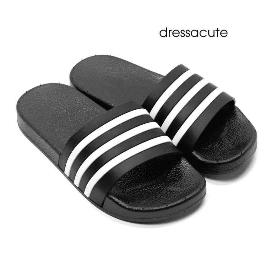 Dress A Cute รองเท้าแตะแบบสวม ไซส์ 44-45 สำหรับผู้หญิง สีดำ ลายขวาง ริ้วเล็ก ...