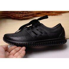 Dress A Cute รองเท้าผ้าใบแฟชั่น แบบยาง สีดำ
