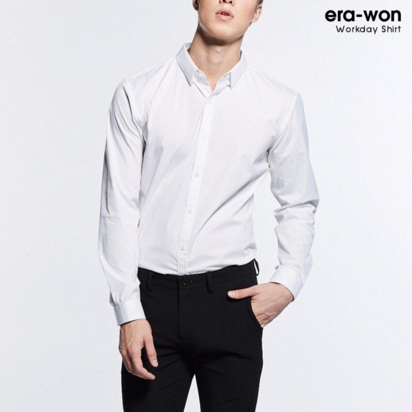 era-won เสื้อเชิ้ต ทรงสลิม Workday Shirt สีขาว(White)