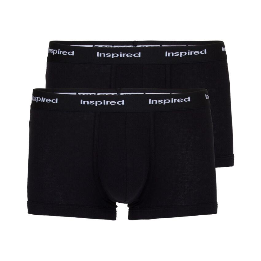 F&F กางเกงในชาย ขาสั้นรัดรูปขอบโชว์ยาง สีดำ แพ็ค 2 ตัว ...