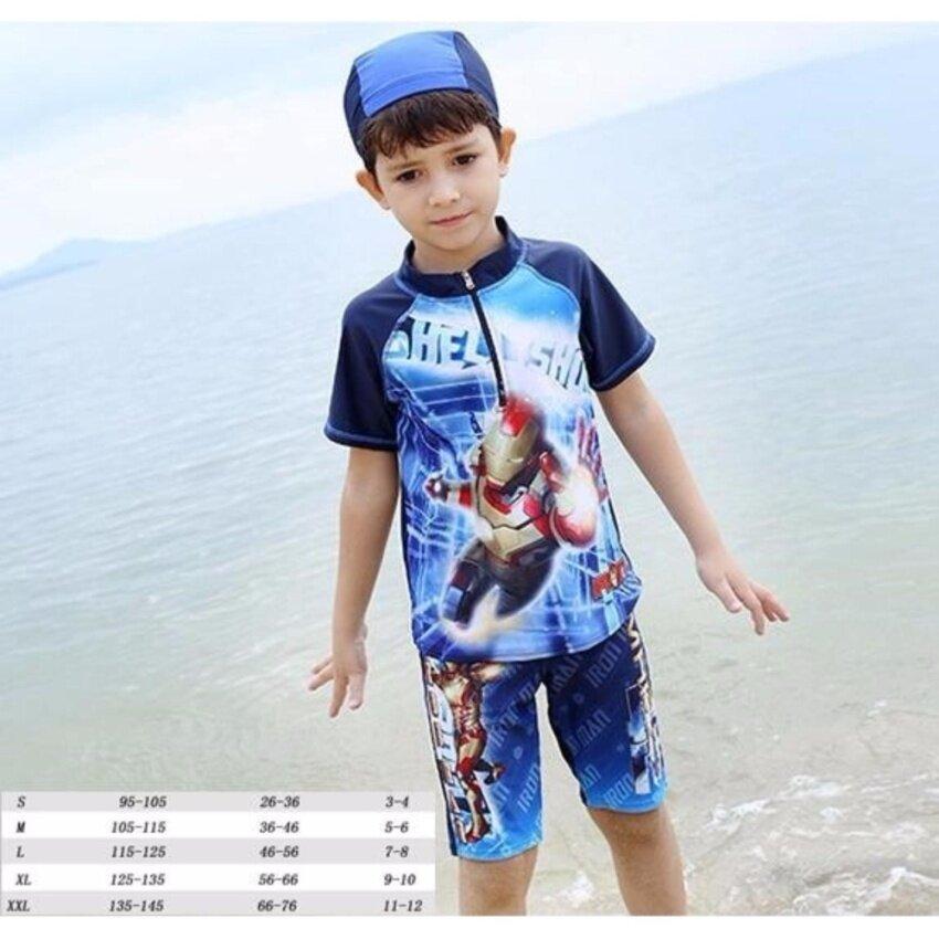Friendly4kid ชุดว่ายน้ำเด็กชาย ชุดเซ็ตว่ายน้ำ แขนสั้น ไอร่อนแมนสีน้ำซิปหน้า+กางเกง +หมวก