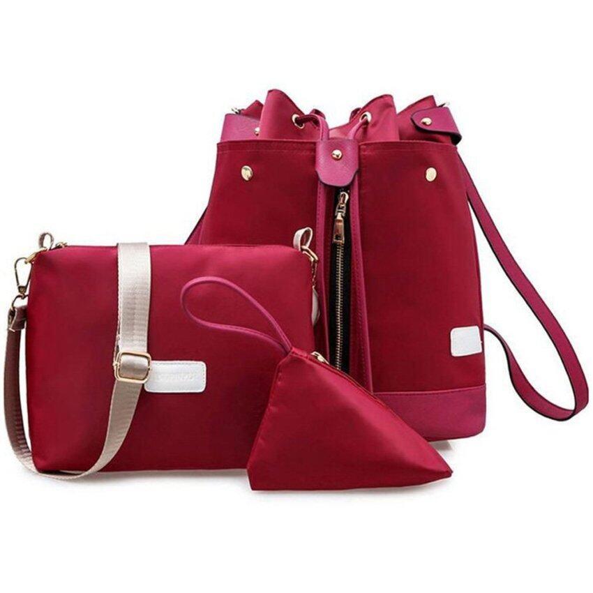 FTshop เซ็ต 3 ใบ กระเป๋าเป้สะพายหลัง กระเป๋าแฟชั่น กระเป๋าสตางค์ กระเป๋าเดินทาง กระเป๋าเป้ผู้หญิง(สีแดง)