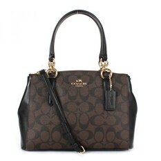 GPL/ Coach Fignature PVC Mini Christie Carryall Satchel Brown/Black/ship from USA - intl