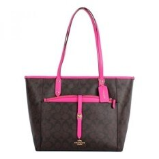 GPL/ Coach Signature PVC City Tote with Pouch F23860 Bright Fuchsia/ship from USA - intl image