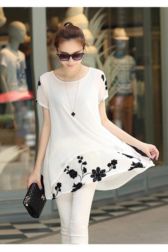 Hanyu เวอร์ชันเกาหลีชีฟองแขนสั้นปักเสื้อเชิ้ตขาว image
