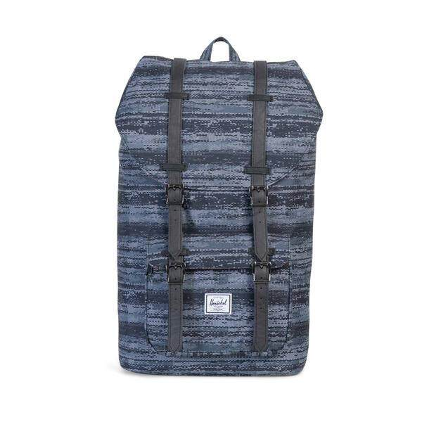 Herschel Little America Backpack (WHITE NOISE/BLACK SYNTHETIC LEATHER)