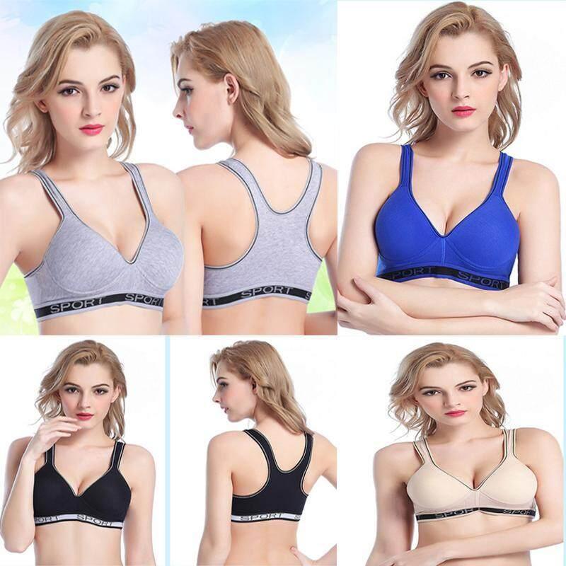 Hot Sale Women Multicolors Padded Top Active Color Block Gym Wear Push Up Crop Top Fitness Sport Bra for Women Grey - intl