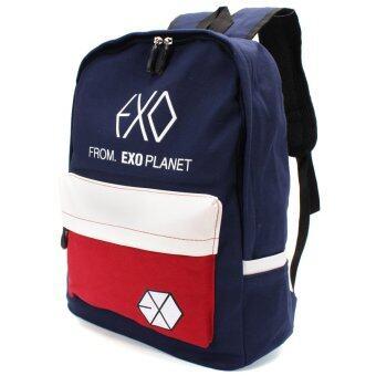 กระเป๋า กระเป๋าเป้สะพายหลังผู้ชาย Colorful Canvas Backpack Outdoor Travel Schoolbag Bookbag Rucksack Girl Boy Design Men Women Student Mochila EXO Bag blue