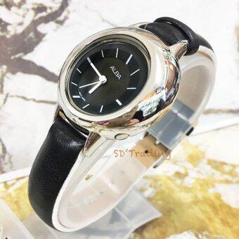 ALBA นาฬิกาข้อมือผู้หญิง สีเงิน/สีดำ สายหนัง