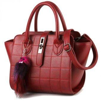 กระเป๋าผู้หญิงสะพายข้างแบบมีหูหิ้ว (สีแดงเข้ม)