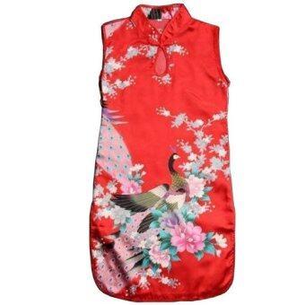 เด็กหนุ่มเด็กสาวจีนเรโทรนกยูงแต่งตัวชุดกี่เพ้าของจีน