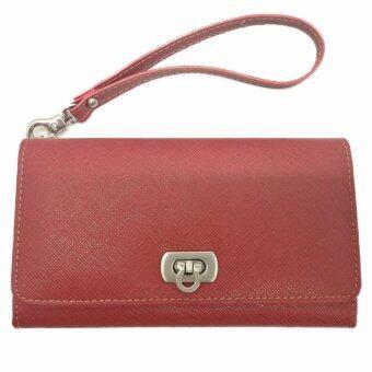 กระเป๋าสามพับ (ลายไทก้า) รุ่น TK-633 สีแดง สำหรับใส่นามบัตรและโทรศัพท์ รุ่น IPhone 6,7 Plus