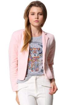 Sunwonder หญิงเฒ่าเสื้อนอกแขนเสื้อยาวคอสั้นในเสื้อสูทกระดุมเสื้อแจ็คเก็ต (สีชมพู)