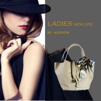 Nuchon Bag กระเป๋าสะพายแขน กระเป๋าถือ รุ่น Hermes Picotin Lock Bag Light Gray