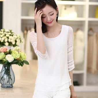 เสื้อแฟชั่นสตรีสไตล์เกาหลีปี 2559 ไซส์พิเศษเสื้อชีฟองแขนสั้นสูงสีขาวเย็บเสื้อเชิ้ต Blusas S-5XL ขาว