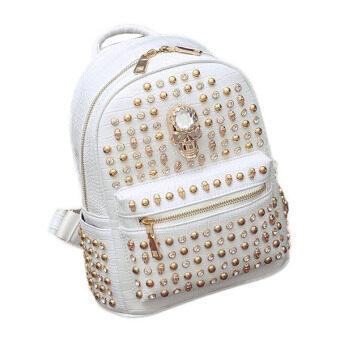 Lady Travel Backpack Shoulder Bag Rivet Punk Package crocodile Lines Bag กระเป๋าเป้สะพายหลัง รุ่น (White,M)