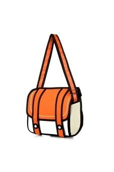 Women's Girls 3D Jump Style 2D Drawing Comic Cartoon Camera Bag Handbag Tote Shoulder Bag Cross-body Messenger Bag Orange