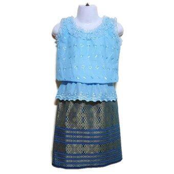 ชุดไทยเด็กหญิง แขนกุดคอติดระบาย+กระโปรง(สีฟ้า)