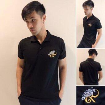 Nine One One POLO T-Shirt Black เสื้อโปโล สีดำ ปักด้วยด้าย สีทอง-ขาว