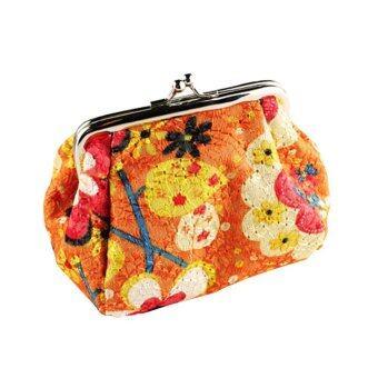 ใหม่กระเป๋าปักลายเรโทรเล็กนอนคว้ากระเป๋าสตางค์กระเป๋าถือสตรีกระเป๋าสตางค์ใส่ส้ม