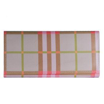 Nuchon Bag Women Wallet กระเป๋าสตางค์ กระเป๋าสตางค์ใส่มือถือ Iphone6Plus สีครีม Size L รุ่น 1พับBurberry-Pink