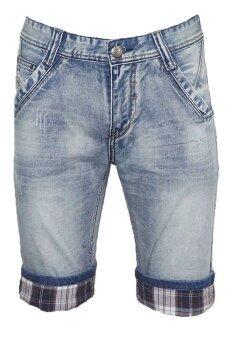 EAY กางเกงขาสั้นยีนส์ short6297 สีกรมฟอกขาว