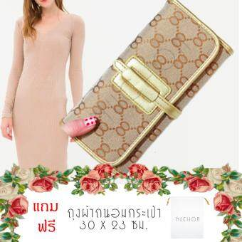 Nuchon Bag GuCi&Belt กระเป๋าสตางค์ ใส่มือถือ GB Smart Wallet Iphone 6 Plus Size M/Gold แถมฟรี ถุงผ้าถนอมกระเป๋าสตางค์ รุ่น NCW-001-White