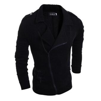 แฟชั่นผู้ชายเสื้อแจ็กเก็ตเสื้อกีฬาลำลองเรียวสีดำ