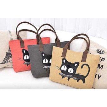 กระเป๋าสะพายลายแมวคาบปลาย่าง