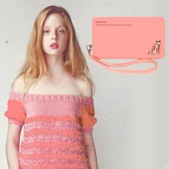 Nuchon Bag กระเป๋าสตางค์ ใส่โทรศัพท์ มือถือได้ ใส่เงิน แฟชั่น ผู้หญิง ราคาถูก Smart Wallet Iphone 6 Plus Size M (Pastel LightPink)