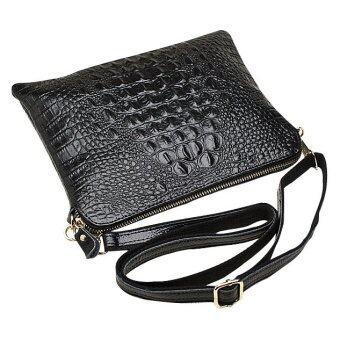 ซองหนังแท้จระเข้ผู้หญิงกระเป๋าสะพายกระเป๋าถือกระเป๋าถือคลัตช์ (สีดำ)-