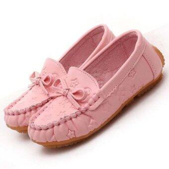 เด็กแฟชั่น loafers เดียวเด็กสาวรองเท้ารองเท้าแบนเหตุ (สีชมพู)