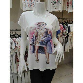 November T Shirts เสื้อยืดฟรีไซส์ เสื้อผู้หญิงสรีนลายน่ารัก รหัส L100 a64