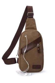 Genial กระเป๋าคาดอก ผ้า CANVAS รุ่น BAL001 (Coffee)