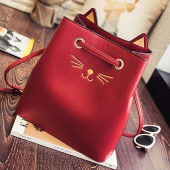 กระเป๋าสะพายไหล่ถักลายเเมวเเละหูเเมว รุ่น Cat Lovers -(Red)