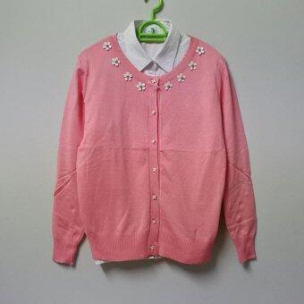 เสื้อคลุมคาร์ดิแกน สไตส์เกาหลี ลายดอกมะลิ สีชมพู