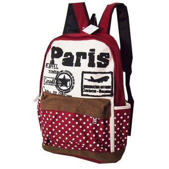 กระเป๋าเป้ลายปารีส(สีแดง)