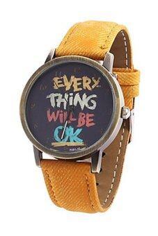 Bluelans Unisex Every Thing Will Be Ok Yellow Denim Quartz Watch
