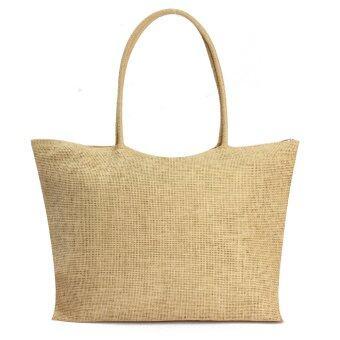 Freebang ร้อนตายไหล่หญิงสาวฟางสานกระเป๋าช็อปปิ้งกระเป๋าถือเงินหาดร้อนสีเบจ