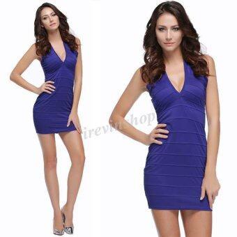 Happycat Zeagoo สไตล์ลำลองเสื้อแฟชั่นสตรีสาวร่างเพรียว Offshoulder Bodycon มินิค็อคเทลปาร์ตี้แต่งตัวเซ็กซี่ (สีน้ำเงิน) (S)