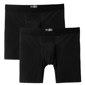 คน 2ชิ้นผ้ายืดผสมสีกางเกงชั้นในยาวบางใสสีดำ