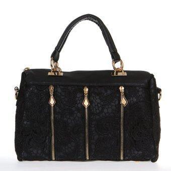 แฟชั่นกระเป๋าถือสุภาพสตรีสาวเรโทรถักกระเป๋าสะพายหนัง Pu ตายสีดำ