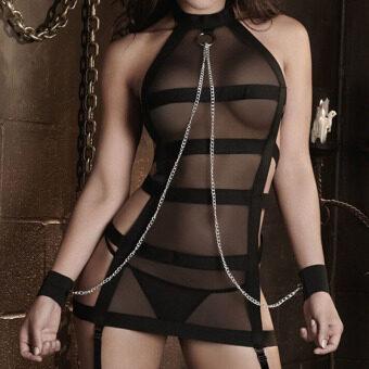 ชุดชั้นในลูกไม้เซ็กซี่สไตล์โกธิคแต่งตัวไว้ไม่ให้สตรีชุดชั้นในชุดนอนจีสตริงสีดำ