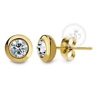 555jewelry เครื่องประดับ ต่างหูสตั๊ด สแตนเลสสตีล ก้านเสียบดีไซน์กลมขอบเรียบ ประดับ CZ รุ่น MNC-ER460-B (สีทอง)